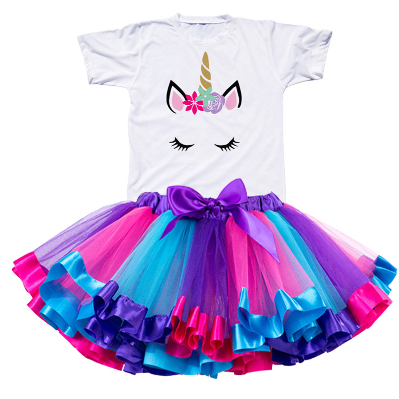 Children Clothing Sets for Baby Girls Summer 2019 New Fashion Unicorn Tops Kid Clothes Girl Tees Princess Birthday Sets Clothes 2
