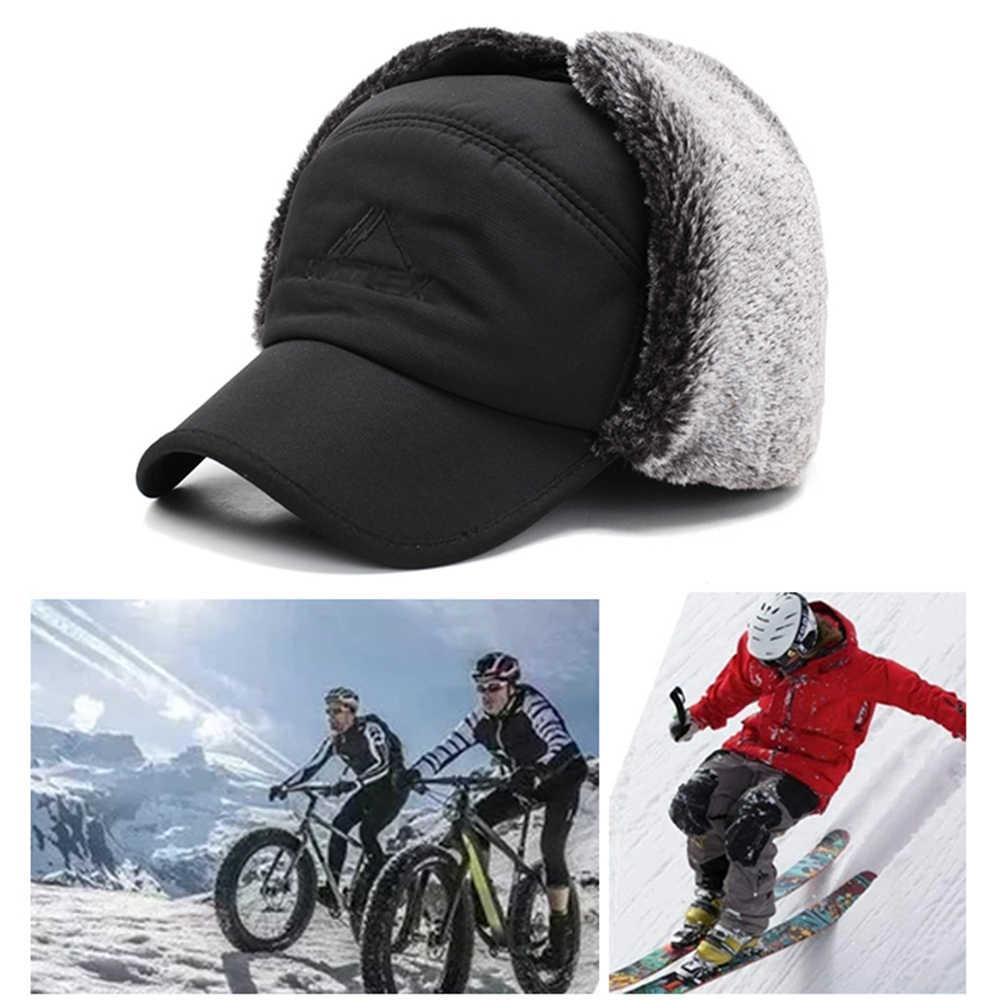 יוניסקס חם חורף הצייד טרופר כובע Mens פו פרווה מפציץ כובעי עם אוזן דש Windproof מסכת שלג סקי כובע ציד כובע חדש O15