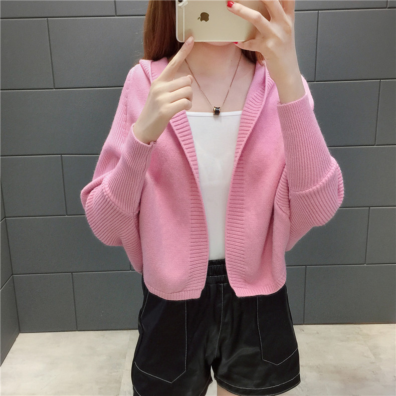 2019 Free send New style Korean loose and comfortable Autumn women Cardigan Sleeve of bat Hooded Sweater coat 133