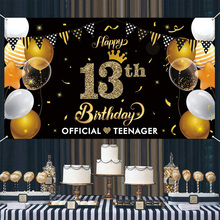 Banner-Decoration Happy-13th Official-Teenager Party Birthday-Banner Outdoor for Children