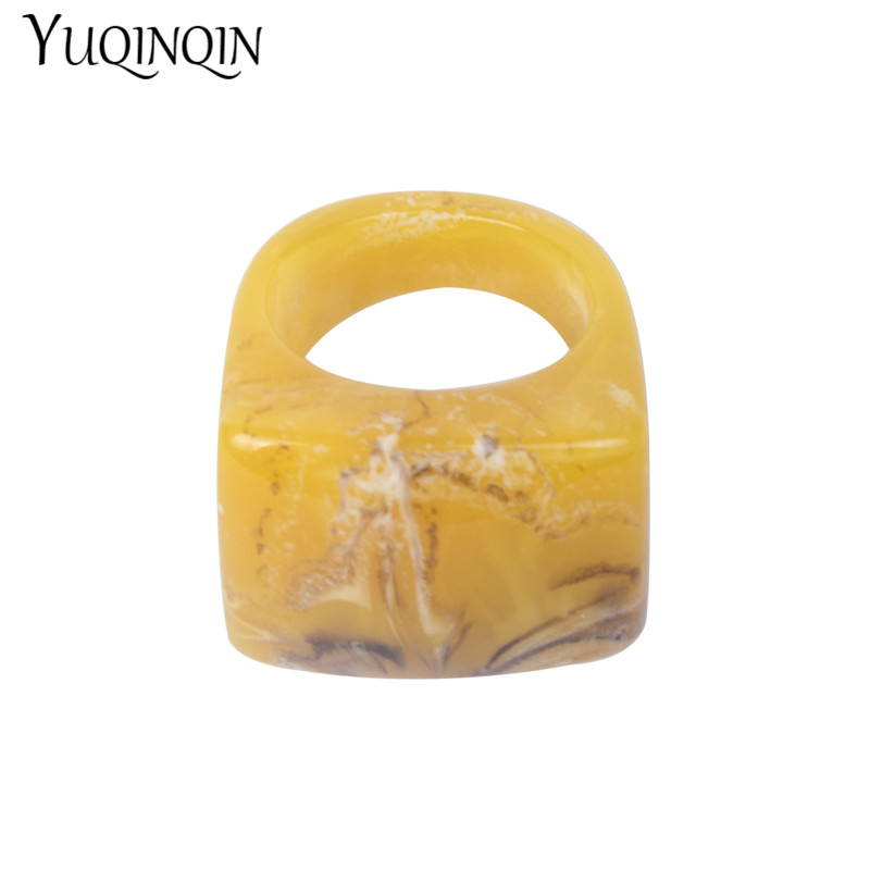 Hot Fashion Big Resin Rings For Women Simple Acrylic Square Signet Ring Unique Punk Style Party Statement Jewelry Free Shipping