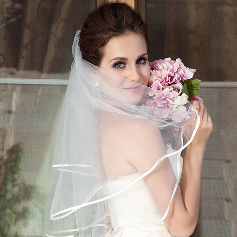 Simple Short Tulle Wedding Veils Cheap White Ivory Bridal Veil For Bride For Mariage Wedding Accessories