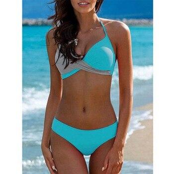 MUOLUX 2020 Sexy Bikini Set Two Piece Swimwear Women Swimsuit Tankini Swimsuit Lattic Bandage Push Up Beach wear Bathing Suits 4