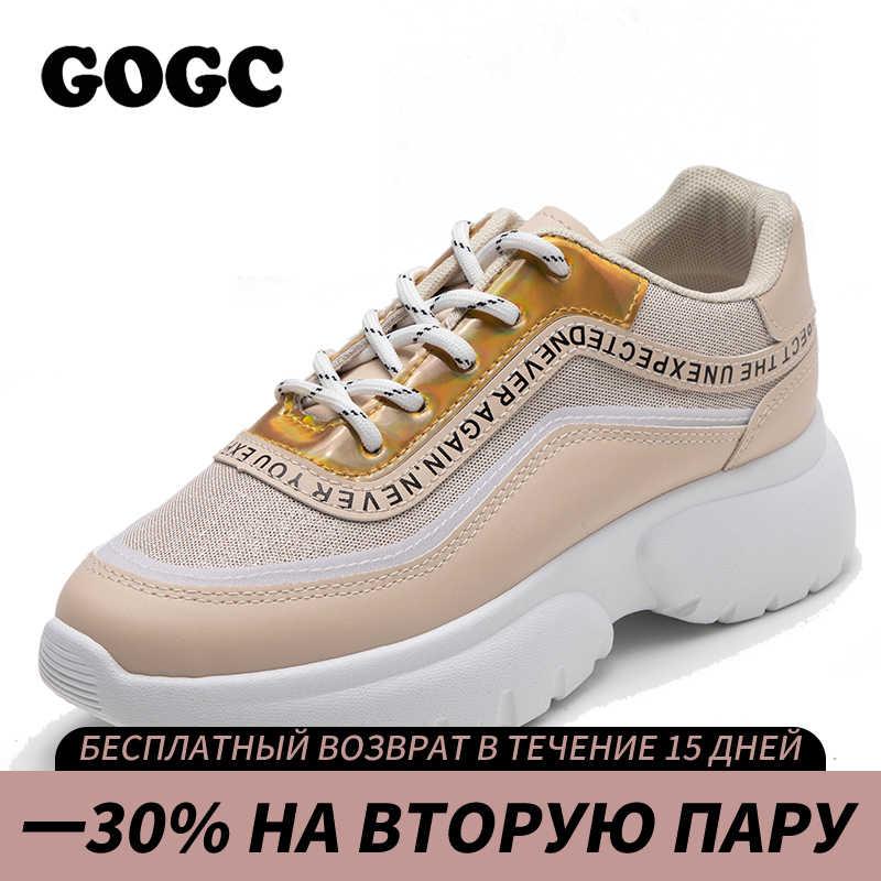 GOGC Sneakers Nữ Nền Tảng Giày Chun Giày Mùa Xuân Nữ Đế Giày Nữ Giày Vàng Nữ Slipony G6815