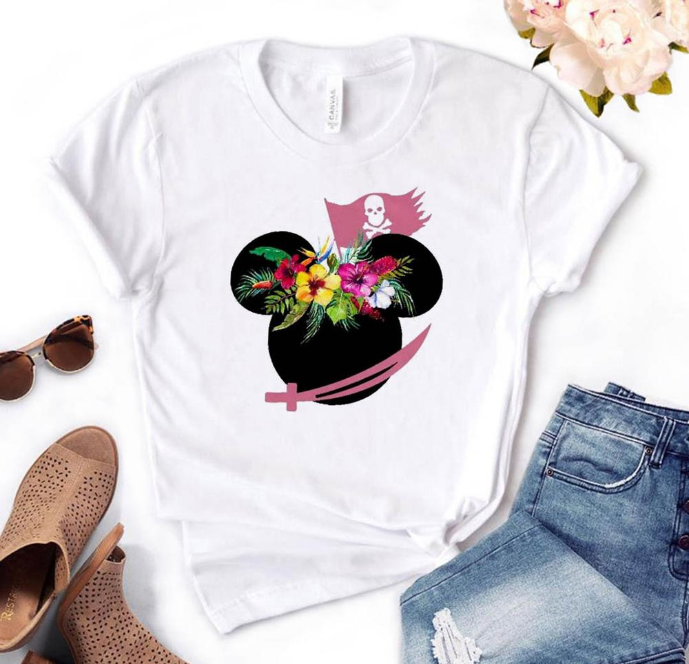 Pirate Mouse Flower Head Print Women Tshirt Cotton Hipster Funny T-shirt Gift Lady Yong Girl Top Tee Drop Ship FB-15