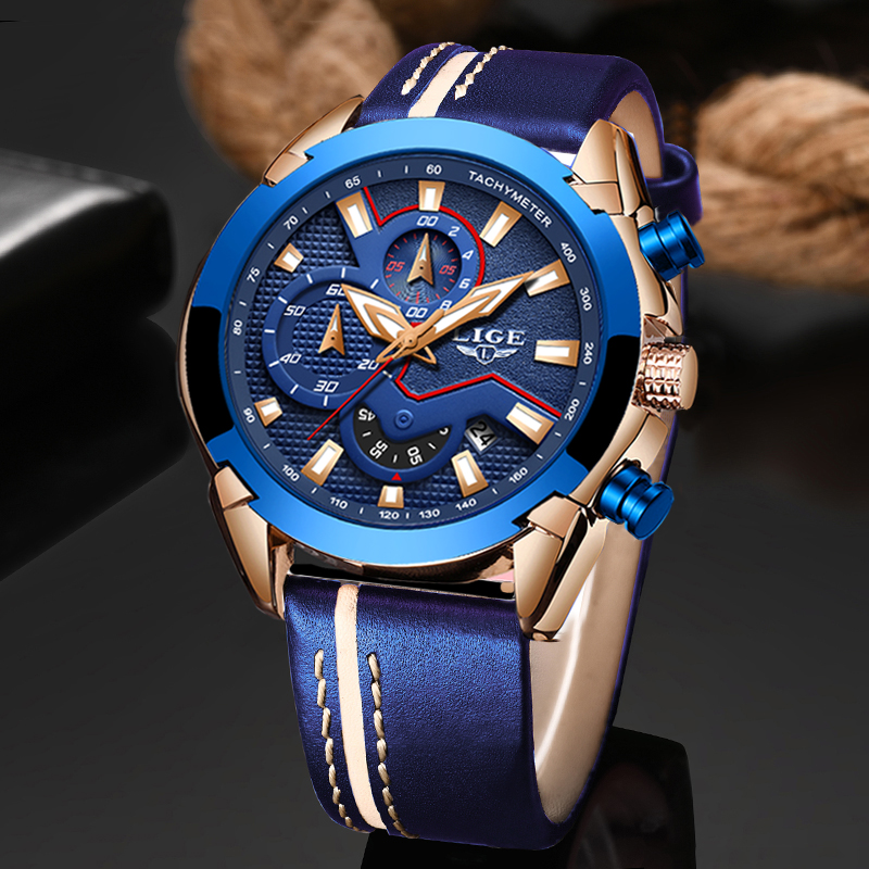 Relogio Masculino 2019 New Fashion Blue Men Watch LIGE Top Luxury Brand Wristwatch Casual Leather Waterproof Sport Quartz Clock