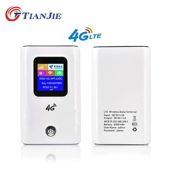 TIANJIE 3G/4G 6000mAh Power Bank wifi Router LTE CAT4 Unlocked Mobile Wifi Router 150Mbps Hotspot with simcard slot router Modem lte cat4 enabled carfi e8377 4g lte mobile car wifi hotspot