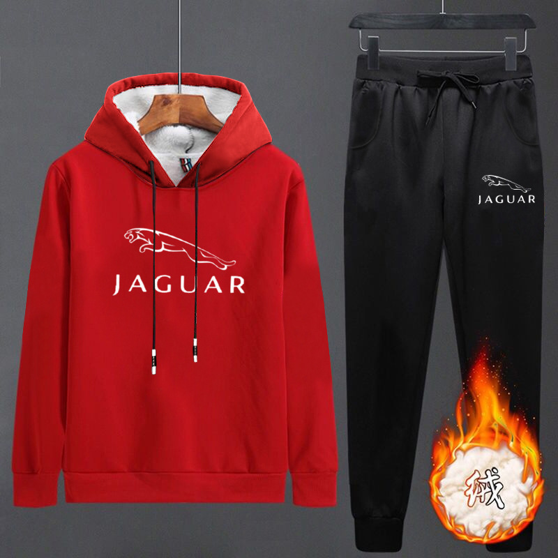 New Style Autumn And Winter Leisure Sports Suit Full Body Plus Velvet Hoodie Men's Hooded Students Thick Warm Two-Piece Set