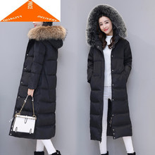 Warm Women's Thick Jacket with Large Fox Fur Hooded Korean Winter Duck Down Male Ladies Long Coat Hiver LAN9099(China)