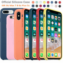 Buy Luxury Original Official Silicone LOGO Case For iPhone 7 8 Plus Liquid Case For Apple iPhone X XS Max XR 5 5S SE 6 6S Plus  Case directly from merchant!