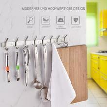 цена на Kitchen Hook Stainless Steel Rail Bathroom Clothes Hook Robe Hook Coat Hook The Hook On The Wall Metal 8-Row-Hook Door Hooks