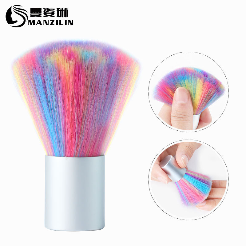 Colored Bristles Nail Art Dust Cleaner Brush Gel Nail Powder Remover Cleaning Brush Tool Professional Nail Art Dust Clean Brush