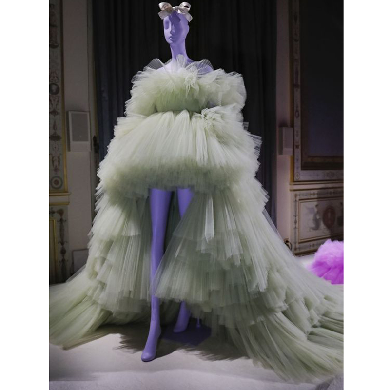 Haute Couture High Low Prom Gown Dresses Layered Tulle Lush Puffy Pageant Formal Dress with Detachable Long Train robe de soiree