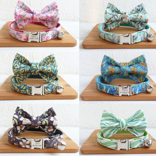 Flower Print Personalized Cat Collar with Bell Bowtie Custom Kitten Collars Engraved Pet Cats Puppy Necklace Collar for Cat Dogs