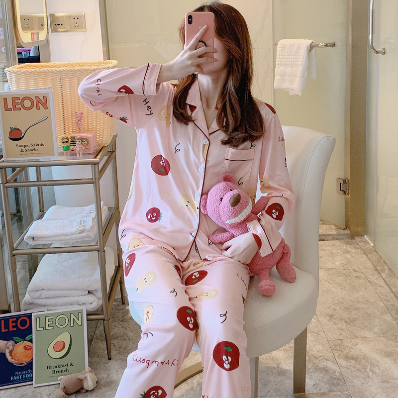 Hot Selling Spring And Autumn New Style Pajamas Women Long Sleeve Fold-down Collar Cardigan Cute Cartoon Tracksuit Women's WOMEN