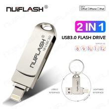 Usb Flash Drive Pendrive Voor Iphone 6/6 S/6 Plus/7/7 Plus/8 /X Usb/Otg/Lightning 2 In 1 Pen Drive Voor Ios Externe Opslagapparaten