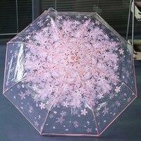 컴팩트 접는 체리 우산 투명 클리어 우산 3 접는 8 리브 Windproof 우산 여성 비 우산 최신