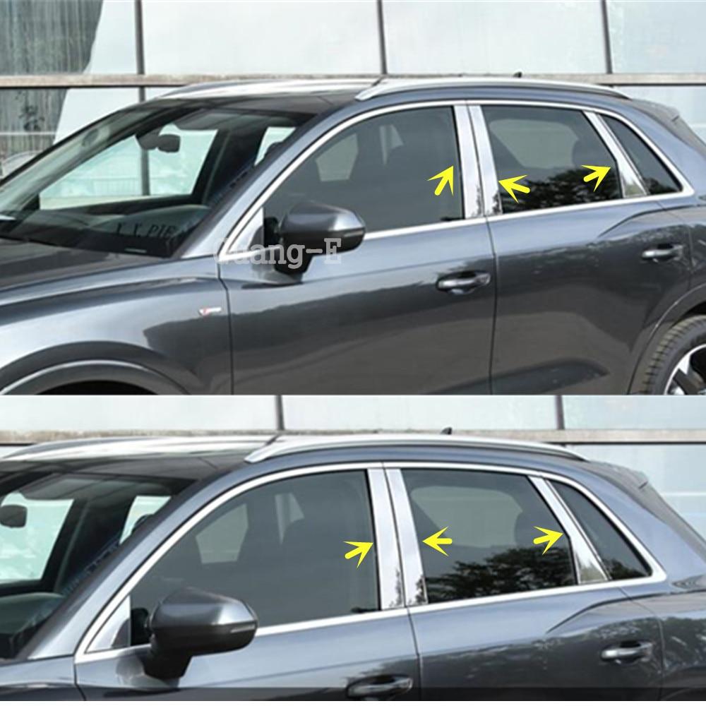 Audi için Q3 F3 2018 2019 2020 Araba Vücut Sopa Paslanmaz Çelik Cam Pencere Garnitür Ayağı Orta Sütun Şerit Trim hood|Krom Şekillendirici|Otomobiller ve Motosikletler - title=