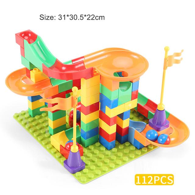 Big Particle Building Blocks Marble Race Run Block Funnel Slide Blocks DIY Bricks Toys For Children