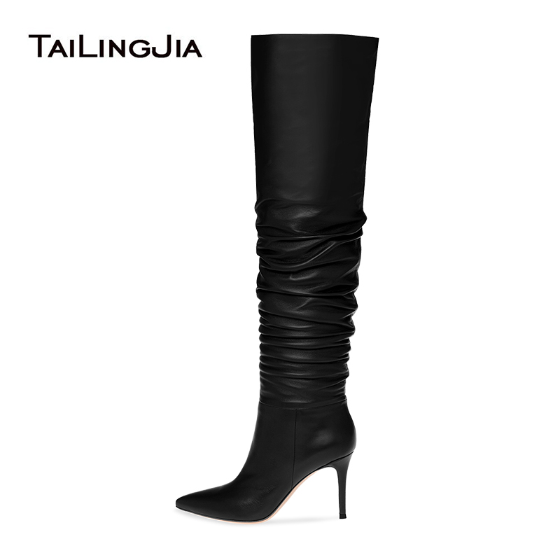 Ladies Faux Suede Long Tall Over The Knee Thigh High Stiletto Pointed Toe Boots