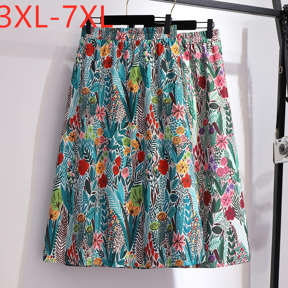 New 2020 Summer Plus Size Long Skirt For Women Large Casual Loose Floral Print Flower Pleated Skirts Green 3XL 4XL 5XL 6XL 7XL