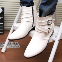 Chelsea Man Boots Shoes Zipper Black Men Fashion New White 39-47 Ankle PU Solid Four-Seasons-Style