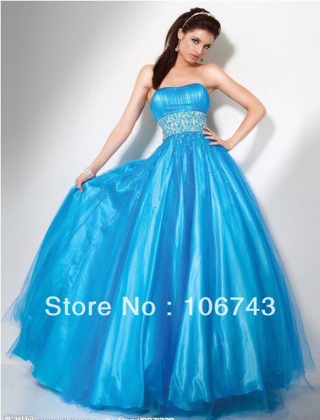 Free Shipping 2018 Design Vestido De Festa Formales Elegant Ball Bridal Beaded Blue Party Gown Quinceanera Bridesmaid Dresses