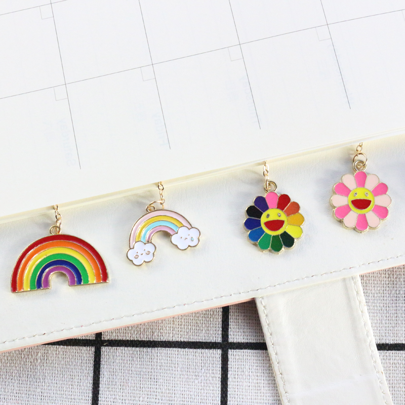 Domikee Cute Candy Metal School Student Hanging Bookmark For Book Kawaii Girls Book Markers Gift Stationery Supplies