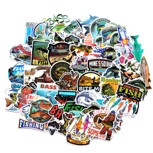 65PCS Funny Fisherman Go Fishing stickers For laptop suitcase Freezer Vinyl Car-styling DIY decoration Decals Car Sticker(China)