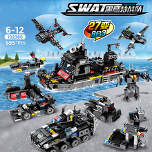 SWAT Police Trucks Black eagle special team Command Car City Helicopter War Soldier Figures Building Blocks Toys for Children