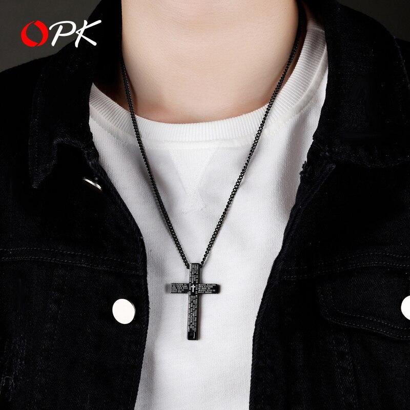 Hommes bijoux jésus Christ croix hommes collier marque de mode ins polyvalent hip hop Bible titane acier pendentif pendentif ornement - 4