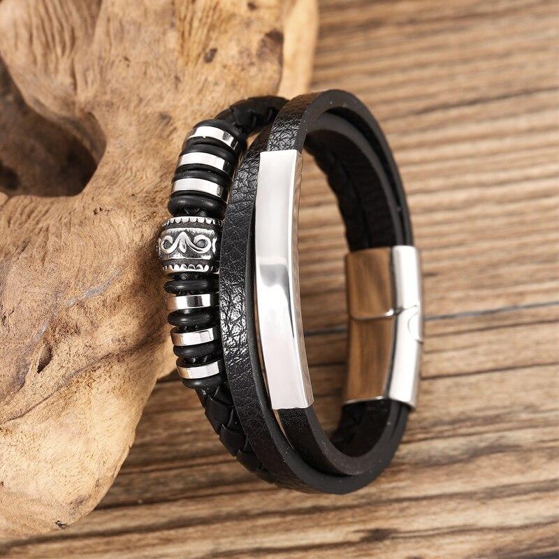 Bracelet en cuir Chakra en acier inoxydable, Bracelet personnalisé avec breloques pour hommes, accessoires noirs et bruns, offre spéciale 5