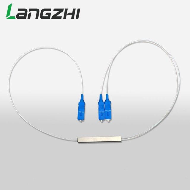 10 יח\שקית SC UPC מיני PLC 1X2 יחיד מצב סיבים אופטי ספליטר FTTH PLC פלדת צינור סוג SC UPC 1x2 PLC סיב האופטי ספליטר