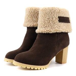 Image 5 - MORAZORA 2020 grande taille 48 femmes bottines troupeau bout rond épais fourrure neige bottes vintage talons hauts chaussures dhiver femme