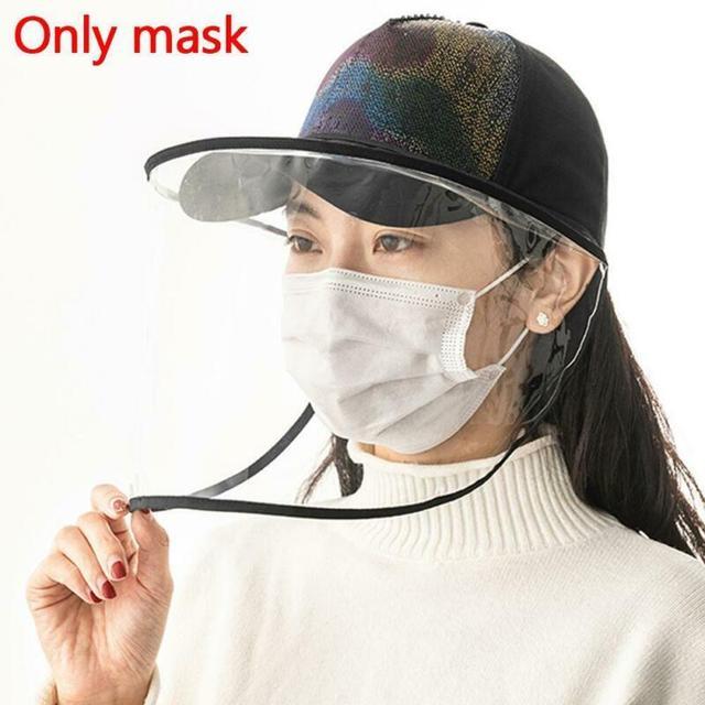 1pcs Clear Full Face Shield Hat-Mounted Transparent Mask Protective Cap Face Mask Plastic Anti-fog Saliva 1