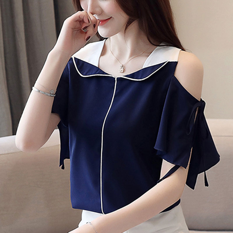 Blusas mujer de moda 2019 ladies tops short sleeve chiffon blouse shirts for women tops Ruffles Solid V-Neck Flare Sleeve 0298