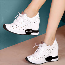 2020 Women Lace Up Genuine Leather Wedges High Heel Sport Gladiator Sandals Female Breathable Fashion Sneakers Summer Trainers summer female sandals high heels sheepskin bohemian up open toe fringe gladiator lace up genuine leather women sandals l2108
