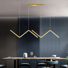 Nordic linha de ouro led lustre design minimalista para sala estar quarto cozinha arte criativa parede suspensão luminárias