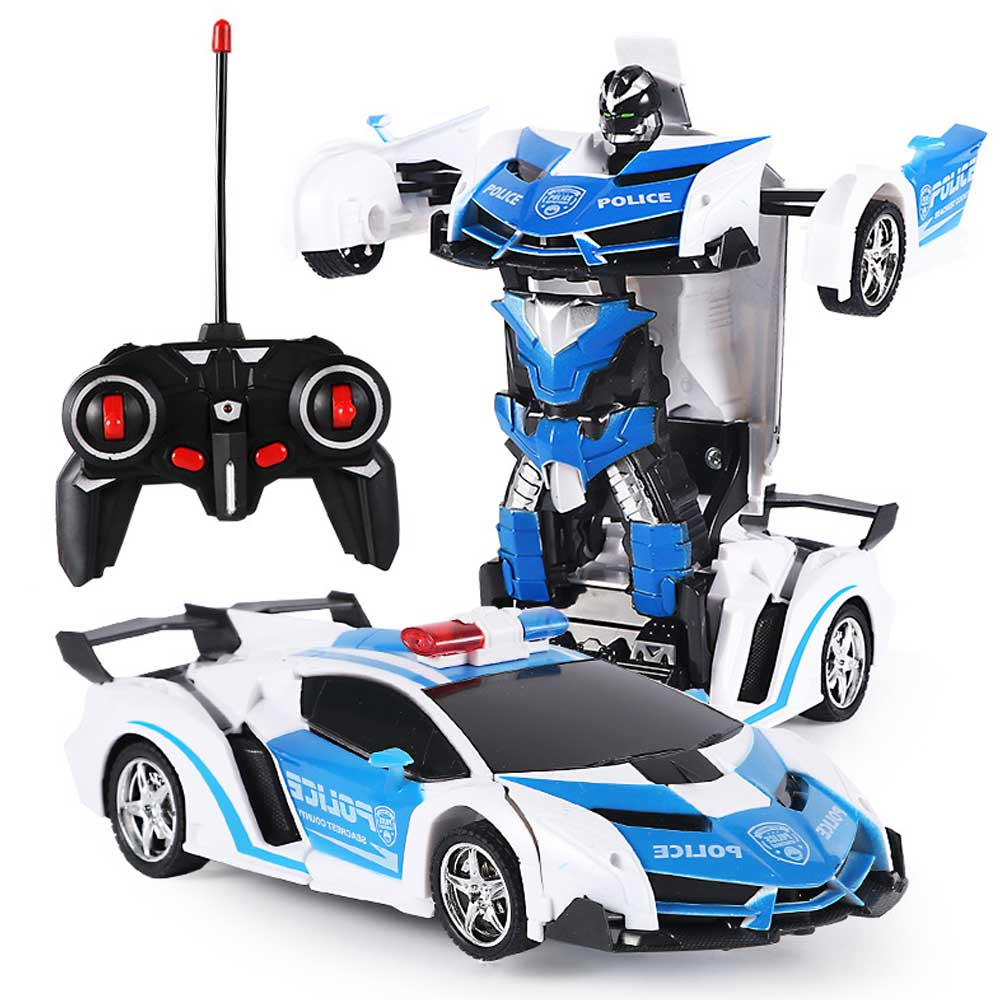 Deformation Car Kids Toys 2 In 1 RC Police Toy Car Transformation Robots Sports Vehicle Model Robots Toys Xmas Gift For Boy