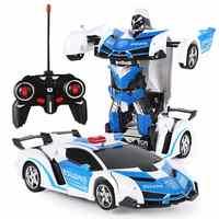 Verformung Auto Kinder Spielzeug 2 In 1 RC Polizei Spielzeug Auto Transformation Roboter Sport Fahrzeug Modell Roboter Spielzeug Weihnachten Geschenk für Junge
