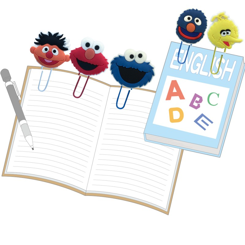 25pcs Lovely Sesame Street Bookmarks Paper Clips Page Holder School Office Supply Stationery For Students Teacher Kids Gifts