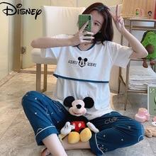 Disney Mickey Mouse nursing pajamas summer thin postpartum cotton short-sleeved plus size pregnant women nursing clothes