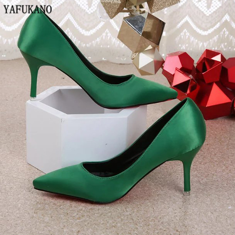 Sexy Stiletto High Heels Red Bridal Shoes Dress Party Wedding Shoes Sprimg Satin Single Shoes Elegant Pointed Women Shoes Pumps