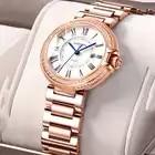 Карнавальные роскошные женские часы с кристаллами модные повседневные Кварцевые женские наручные часы из розового золота со стальным реме...