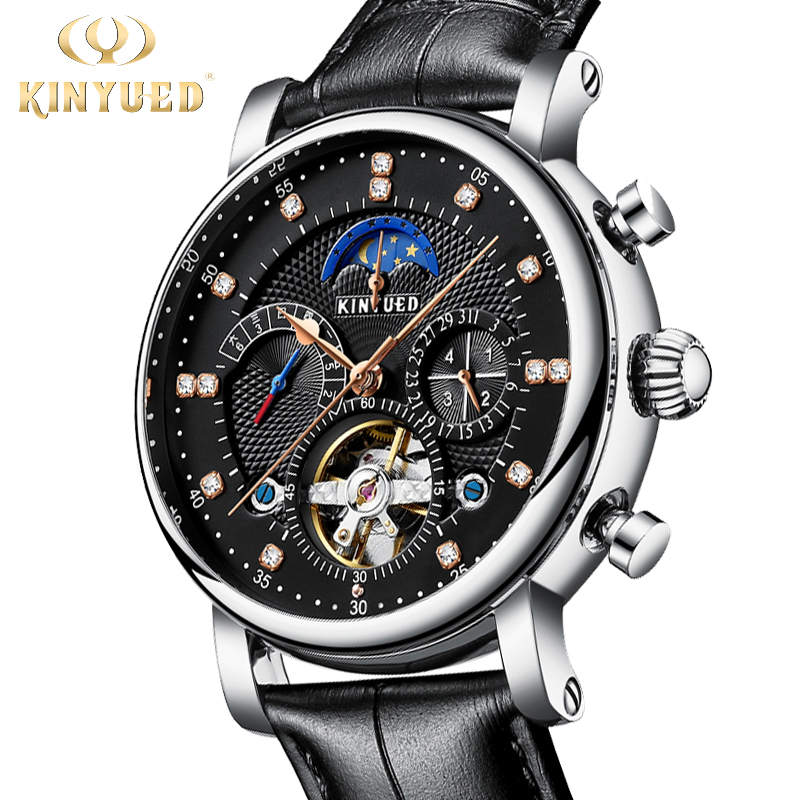 KINYUED Classic Watch Mechanical Moonphase Watches Luxury Mans Automatic Self Wind Tourbillion Wristwatch Male Montre Homme 2020