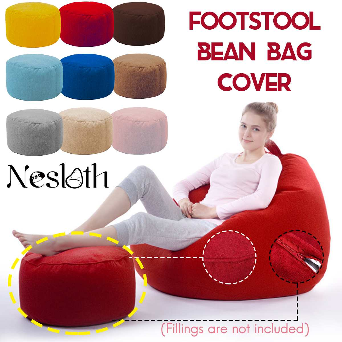 Nesloth Small Round Beanbag Sofas Cover Without Filler Upholstered Velvet Footstool Chair Pouf Puff Couch Tatami Living Room New