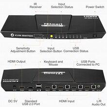 HDMI KVM 4K@60Hz High Quality USB HDMI KVM Switch 4 Port   Support 4K*2K@60Hz Extra USB2.0 Port