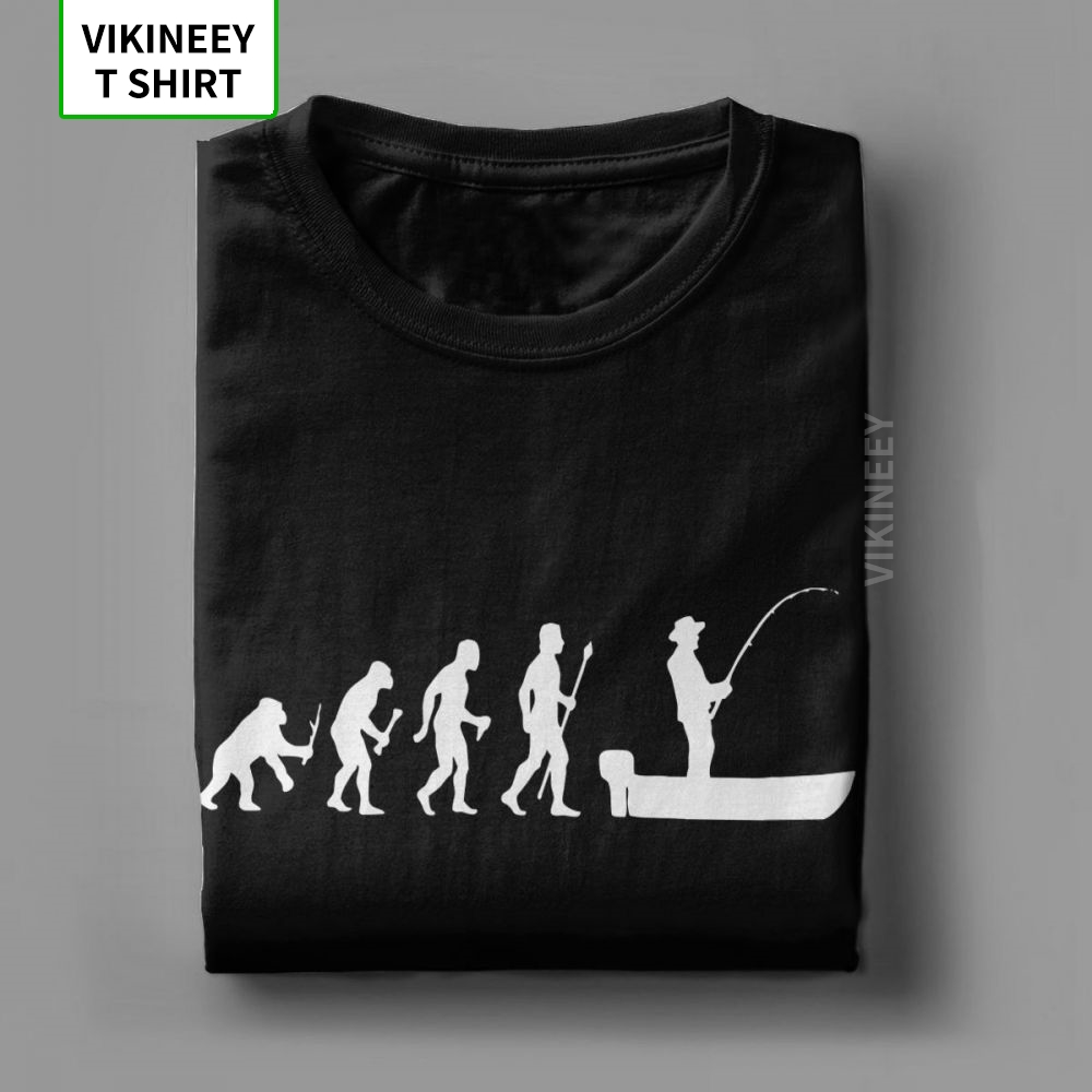 Funny Evolution Of Man And Boat Fish T-Shirts Men Fisherman Fish Short Sleeve Superior Tees Cotton Tops 3XL T Shirt