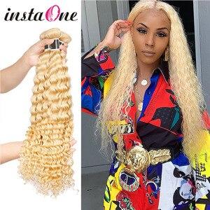 613 Blonde paquets brésilien vague profonde cheveux armure 100% Remy Extensions de cheveux humains 613 eau vague cheveux paquets pour les femmes noires