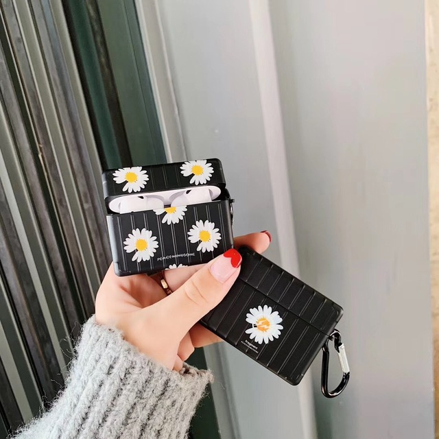 NEW GD dragon peaceminusone x Fragment Daisy Wireless Bluetooth Headset case for Apple Airpods 1 2 3 Pro X Xs Max XR Carabiner